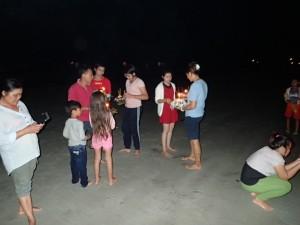 På stranda for utsending av kratonger