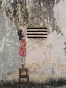Girl (krakken og fugleburet er fysiske objekter)
