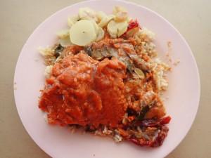 Chicken curry med ris og hvit gulrot...