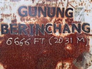 På toppen av Gunung Brinchang, 6666 fot over havet