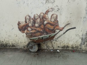 Eight young orangutans in a wheelbarrow (EZ)