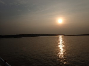 ...og solnedgang over Irrawaddy